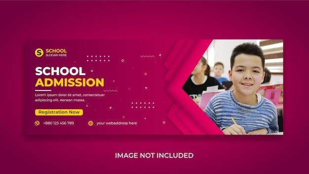 Volta às aulas, crianças, educação, mídia social, banner da web de capa do facebook