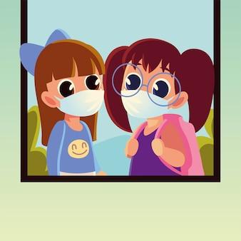 Volta às aulas de meninas com máscaras médicas, distanciamento social e tema educação