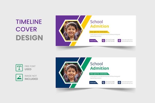 Volta às aulas design do modelo de capa do facebook