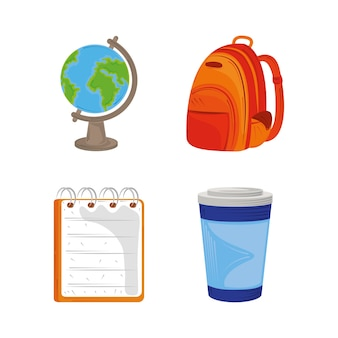 Volta às aulas educação ícone conjunto mapa globo bloco de notas mochila e ilustração de xícara de café