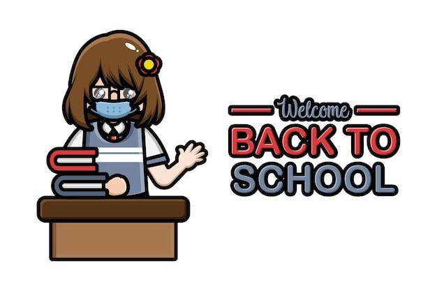 Volta às aulas estandarte aluna sentada usando máscara
