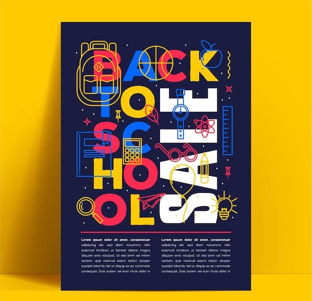 Volta às aulas, folheto ou banner com letras coloridas brilhantes e ícones de linhas finas