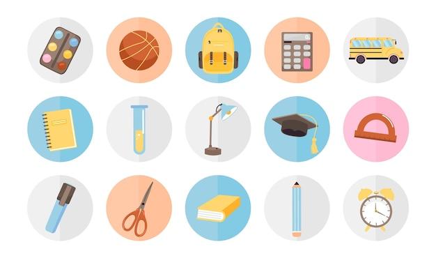 Volta às aulas ícone conjunto coleção de vários materiais escolares