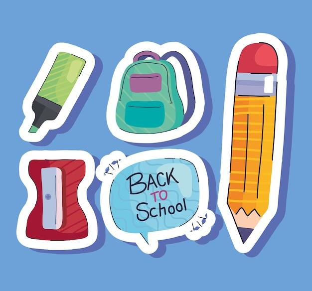 Volta às aulas letras no balão e ilustração de conjunto de ícones