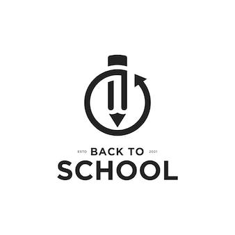 Volta às aulas logotipo com lápis e modelo de design de ícone de volta