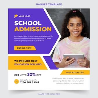 Volta às aulas mídia social pós banner de promoção e modelo de web banner
