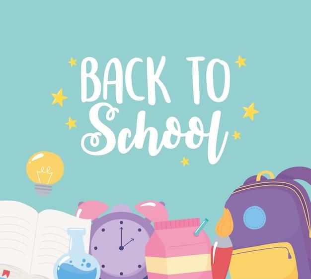 Volta às aulas, mochila despertador, pincel, livro, pôster de criatividade, desenho animado do ensino fundamental