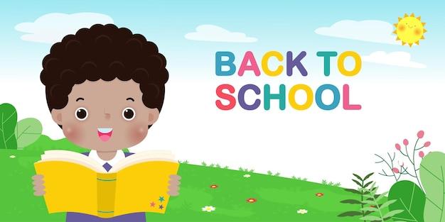 Volta às aulas modelo de banner crianças lendo livro conceito de educação para folheto publicitário
