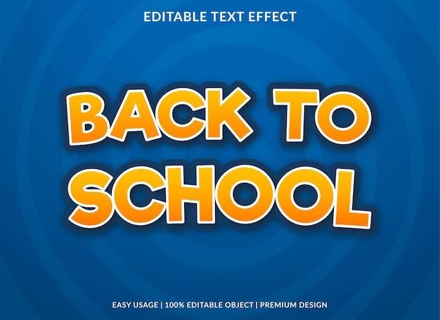 Volta às aulas modelo de efeito de texto estilo premium uso para logotipo e marca