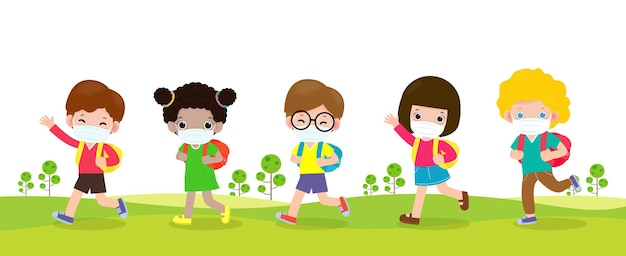 Volta às aulas para um novo conceito de estilo de vida normal grupo de alunos caminhando para ir para a escola vetor