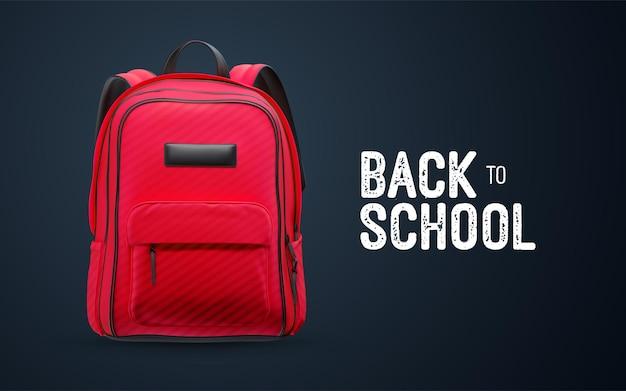 Volta às aulas placa vintage branca com mochila vermelha isolada no fundo preto