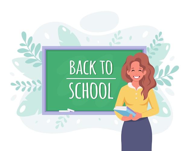 Volta às aulas professora na sala de aula