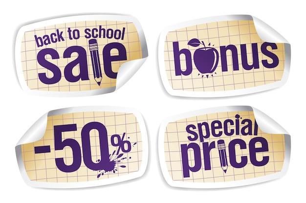 Volta às aulas promoção bônus preço especial 50 por cento fora do conjunto de adesivos de vetor