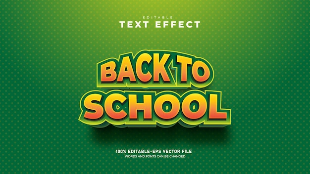 Volta às aulas vetoriais premium de modelo de efeito de texto 3d editável