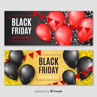 Volta coleção de banner de vendas de sexta-feira com ballooons