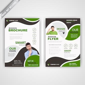 Volta e font corporativo verde panfleto