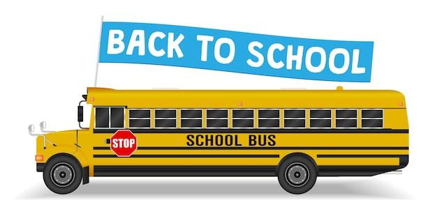 Volta para a bandeira da escola no ônibus escolar