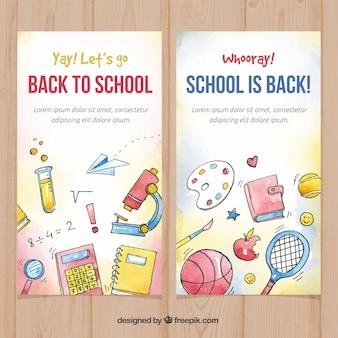 Volta para a escola banners com estilo aquarela