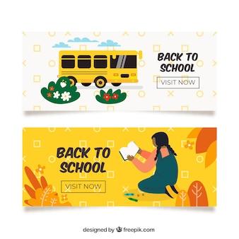 Volta para a escola banners com ônibus escolar