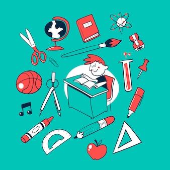 Volta para a escola doodle vector coleção