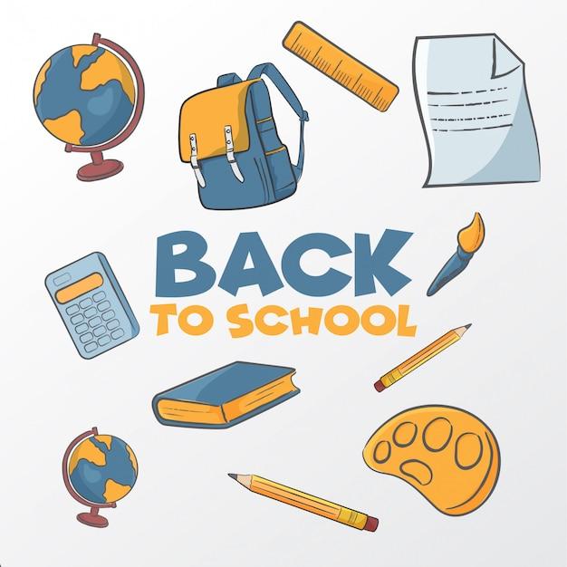 Volta para a escola mão ilustrações desenhadas
