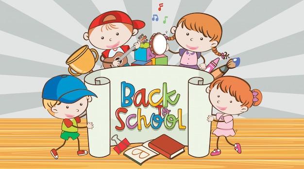 Volta para a escola sinal com muitos meninos felizes