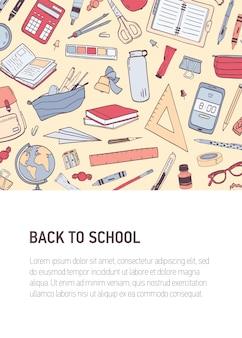 Volta para a escola vertical modelo de panfleto ou cartaz com lugar para texto e decorado por padrão ou textura com artigos de papelaria.