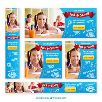 Volta para a escola web banners com foto
