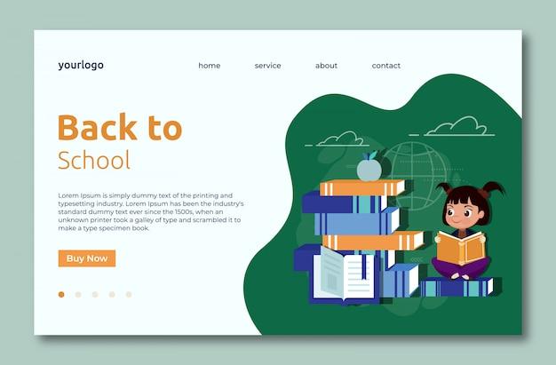 Volta para a página de modelo de web de aterragem da escola com livros de leitura de menina