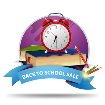 Volta para a venda de escola, banner de web clicável desconto redondo com fita