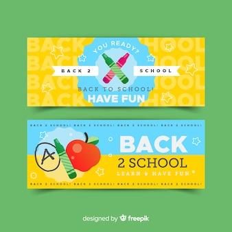 Volta para banners de design plano de escola