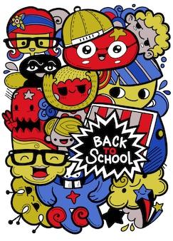 Volta para caracteres de vetor de escola com mascotes de educação engraçada dos desenhos animados