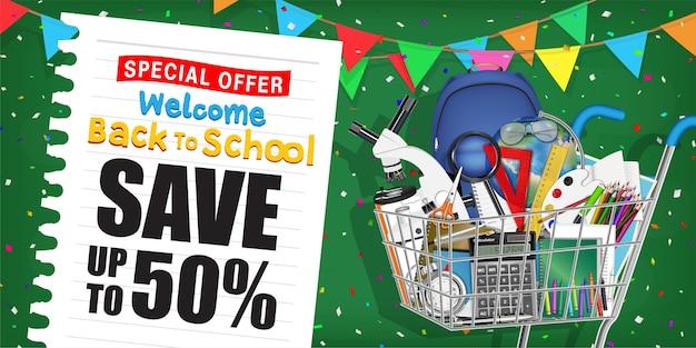 Volta para cartaz de promoção de venda de escola com carrinho de compras