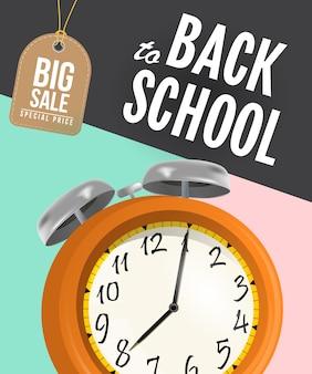 Volta para cartaz de venda de escola com despertador e tag