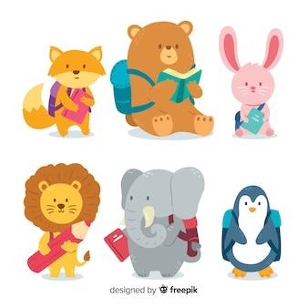Volta para coleção de animais de escola com mochila
