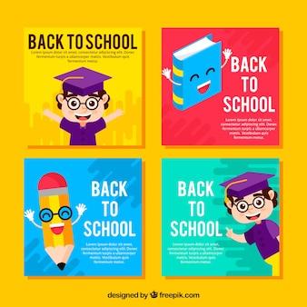 Volta para coleção de cartões de escola em estilo simples