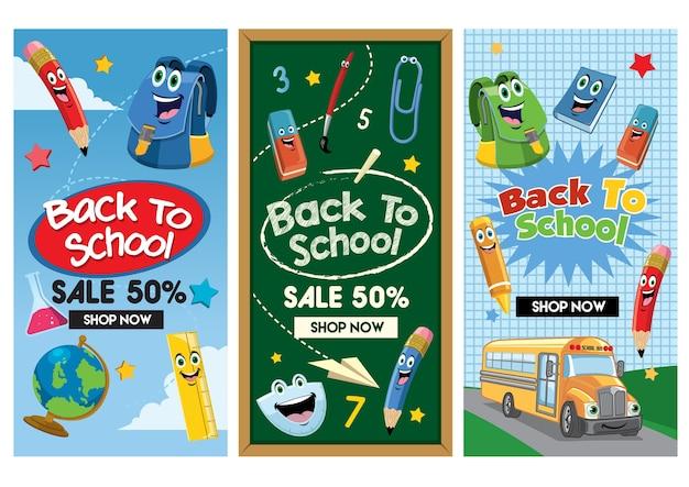 Volta para coleção de conjunto de panfleto de escola