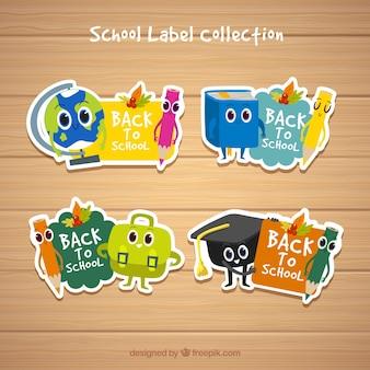 Volta para coleção de rótulos de escola com elementos