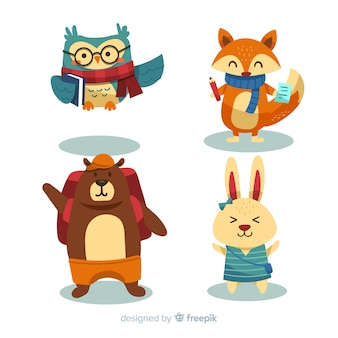 Volta para desenhos animados de coleção de animais de escola