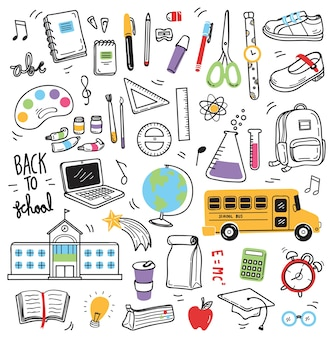 Volta para elementos de doodle de escola