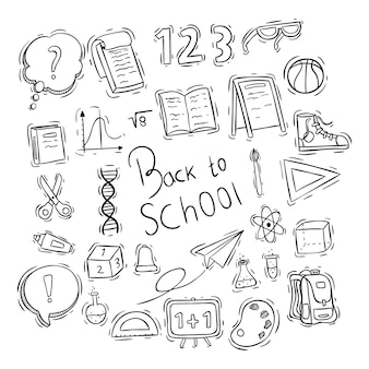 Volta para elementos de escola ou coleção de ícones com estilo doodle