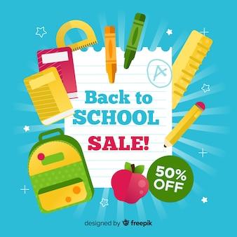Volta para escola banner de vendas com fundo azul