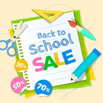 Volta para escola banner quadrado de vendas