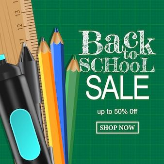 Volta para escola banner venda fundo com caneta conjunto