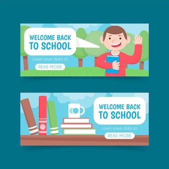 Volta para escola banners em design plano