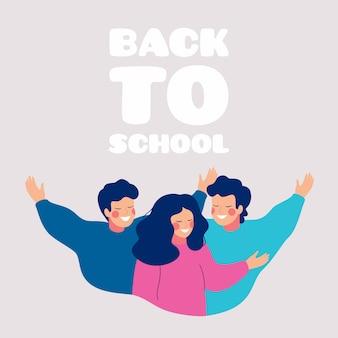 Volta para escola cartão com adolescentes felizes, abraçando uns aos outros