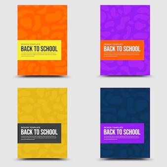 Volta para escola conjunto banner colorido geométrico