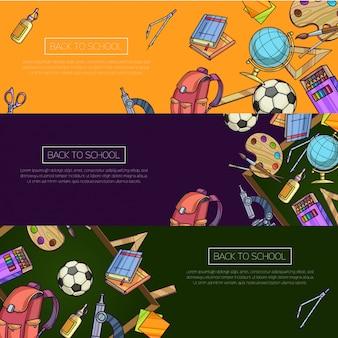 Volta para escola conjunto de banners. modelo de vetor de desenhos animados com objetos da escola