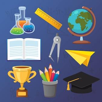 Volta para escola conjunto de ícones de educação