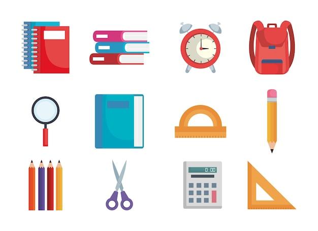 Volta para escola conjunto de ícones vetoriais ilustração design